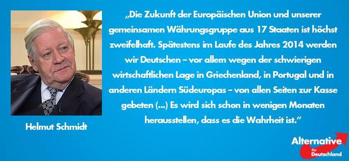 Helmut Schmidt äußert: