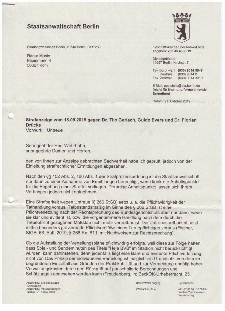 Die Staatsanwaltschaft Berlin nimmt keine Ermittlungen wegen Veruntreuung der Zweitverwertungsrecht durch die GVL auf!