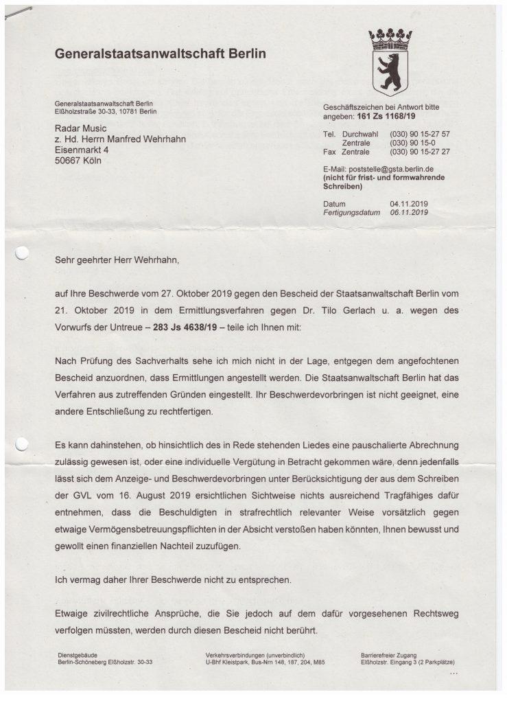"""Die Staatsanwaltschaften in Berlin erkennen die Veruntreuung der Lizenz zum Lied """"Heja BVB"""" durch die GVL nicht."""