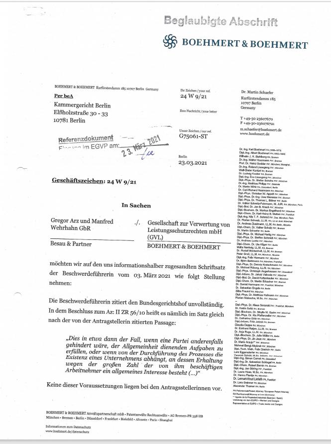 Klage gegen der GVL